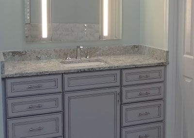 Grey Vanity Cabinets and Wood Look Porcelain Tiles