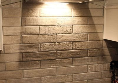 grey brick subways backsplash